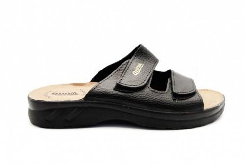Comfortabele Herensandaal Zwart Met Velcro