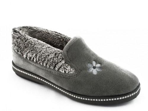 Dames Pantoffel Elegant Grijs Met Bloem Print