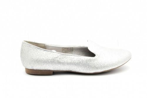 Damesmocasin Zilver Glitter