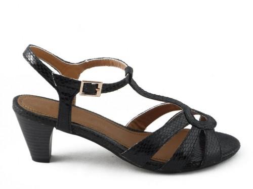 Damessandaal Zwart Hak Croco