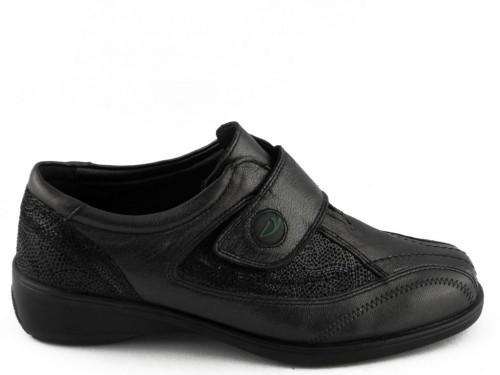 Damesschoenen Comfort Zwart Leder Sana Vital