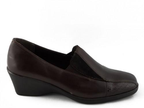 Damesschoenen Mocassin Bruin Leder Comfort Soft Comfort
