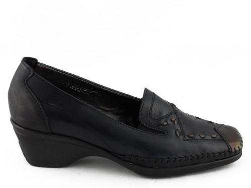 Damesschoenen Mocassin Zwart Leder Hiel Flexstyle