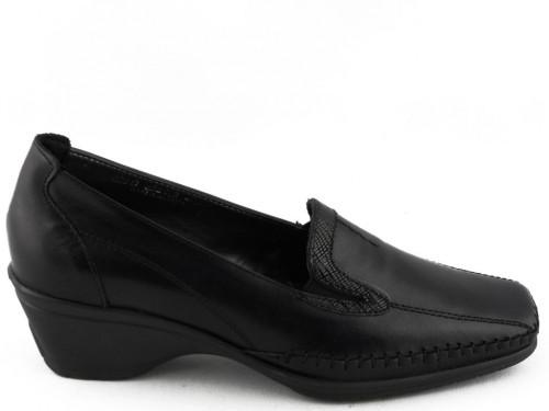 Damesschoenen Mocassin Zwart Leder Klassiek Flex Style