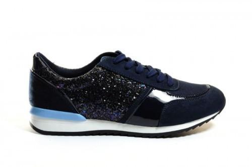 Damessneaker Blauw Glitter