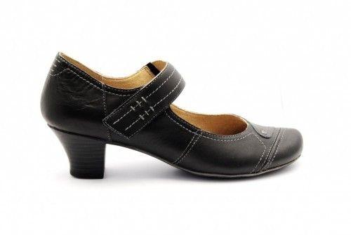 Geklede Damespump Zwart Met Velcro