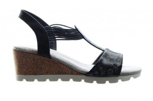Geklede Zwarte Sandaal Met Rekkers