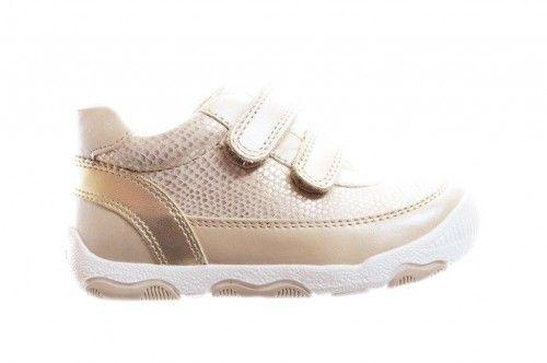 Geox Gouden Sneaker Kleine Meisjes Velcro Leder Steunzolen