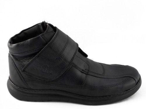 Herenbottine Leder Zwart Wol Sana Vital