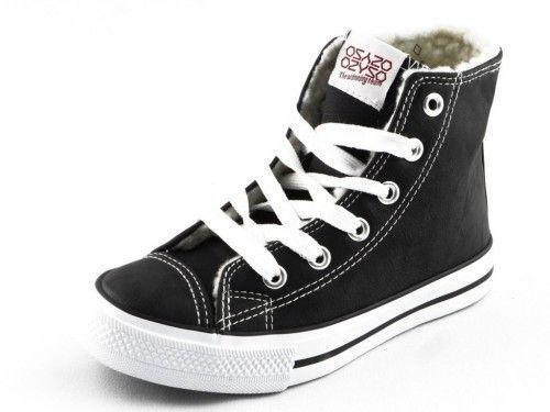 Hoge Sneaker Zwart Met Wol Kinderen