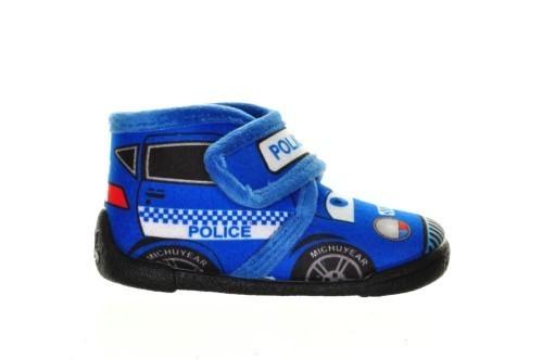 Kinderpantoffel Politieauto Blauw