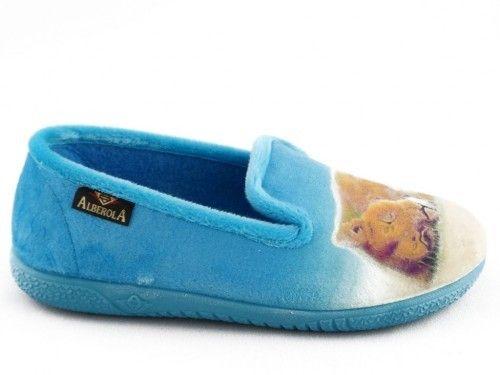 Kinderpantoffel Tijger Leeuw Turquoise Alberola