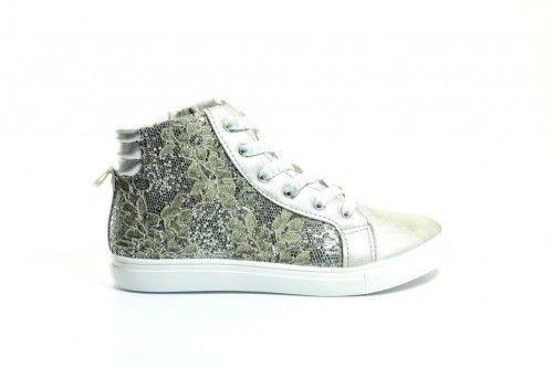 Meisjes Zilver Glitter Sneaker Hoog