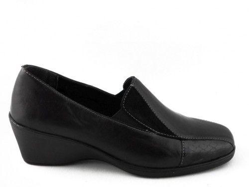 Mocassin Dames Zwart Leder Hak Soft Comfort
