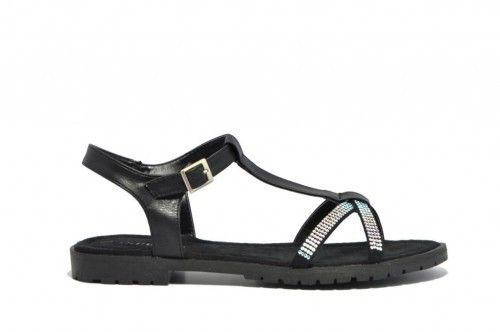 Platte Sandalen Dames Zwart Glitter