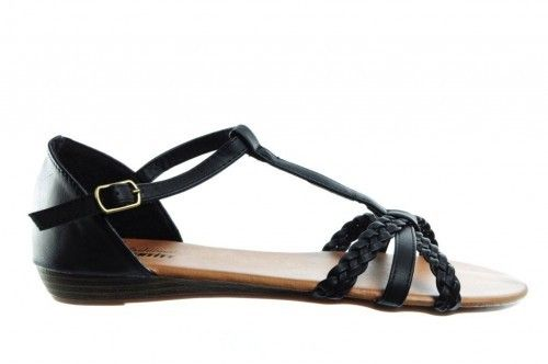 Platten Sandalen Zwart Sleehak