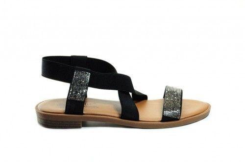 Sandalen Plat Zwart Rekstof