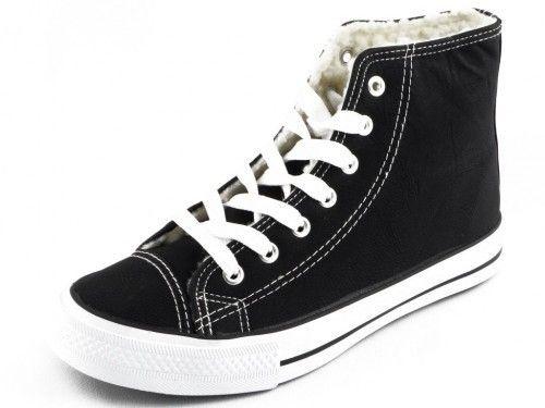 Sneaker Zwart Hoog Met Wol