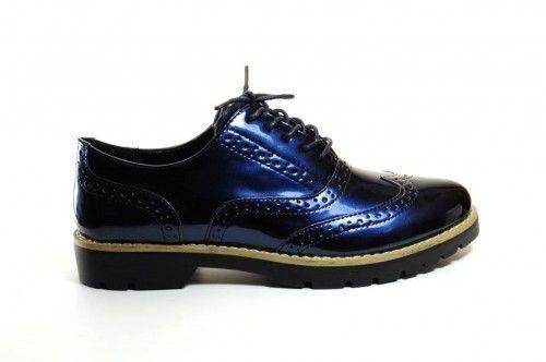 Veterschoenen Blauw Lak Fashion