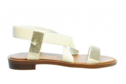 Witte Sandalen Plat Rekstof