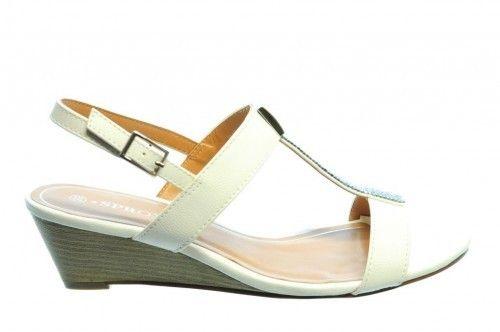 Witte Sandalen Sleehak Diamant