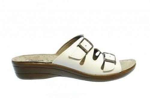 Witte Slipper Riemen Dames