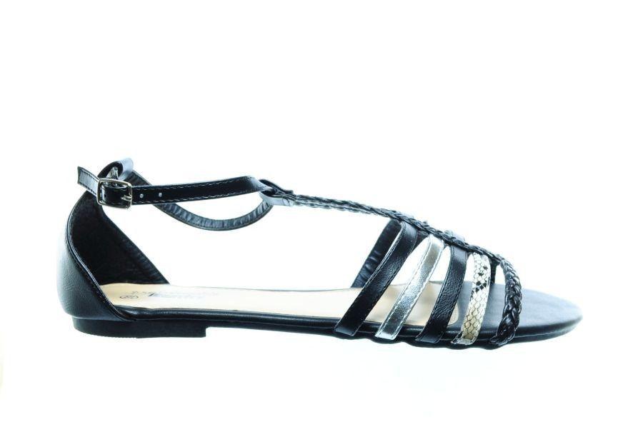 Femmes Sandales Noir Plat ygZMVcsd