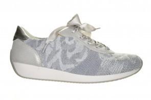 Ara Lissabon Zilveren Sneaker Voorzien Van Lycra