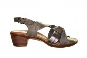 Ara Taupe Lederen Sandaal Met Kleine Hak