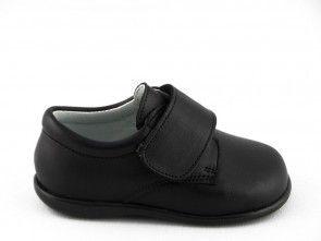 Babyschoenen Klassiek Zwart Leder Velcro Tny