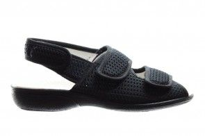 Badstof Zwarte Sandaal