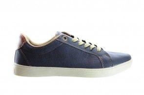 Blauwe Geklede Sneaker Met Veter