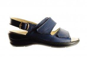 Blauwe Lederen Sandaal Met Velcro Voor Steunzolen