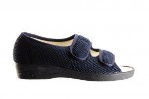 Blauwe Pantoffel Met Velcro En Gesloten Hiel