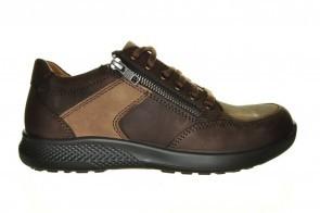 Bruine Extra Brede Sneaker Veter En Rits Jomos