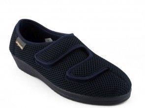 Dames Pantoffel Blauw Dubbel Velcro Alberola