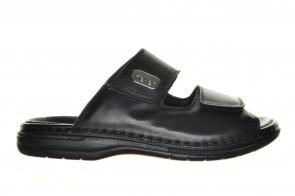 Geklede Zwarte Slipper Velcro Rieker In Leder