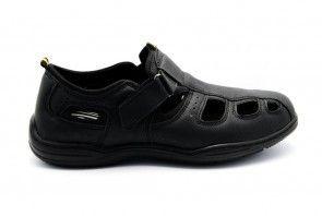 Gesloten Herensandaal Zwart Met Velcro