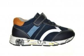 Goedkope Blauwe Lederen Sneaker Velcro