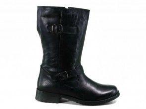 Goedkope Lange Laarzen Leder Zwart