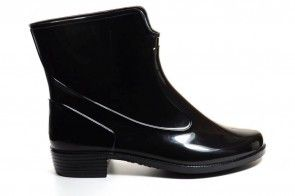 Korte Rubber Laarzen Zwart Lak