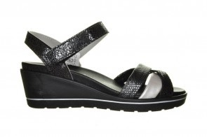 Mirel Rosa 04 Zilver Zwarte Sandaal Met Sleehak
