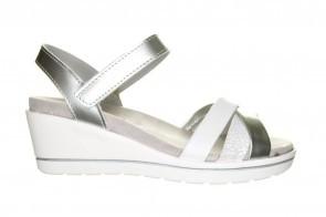 Mirel White Crack Wit Zilveren Sandaal Met Sleehak