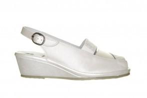 Mirel Witte Klassieke Lederen Sandaal