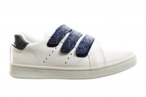 Sneaker Meisjes Wit Met 3 Blauwe Velcro's