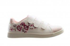 Sneaker Meisjes Wit Met Roos En Bloemmotief Velcro