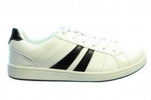 Witte Heren Sneaker Zwart Strepen