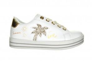 Witte Trendy Sneaker Palmboom Met Rits
