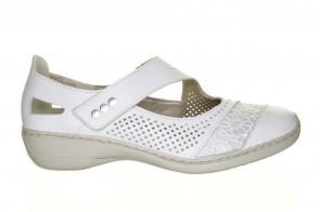 Witte Zomer Mocassin Van Rieker Met Velcro