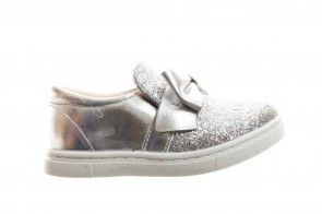 Zilveren Meisjes Mocassin Met Glitters En Strik